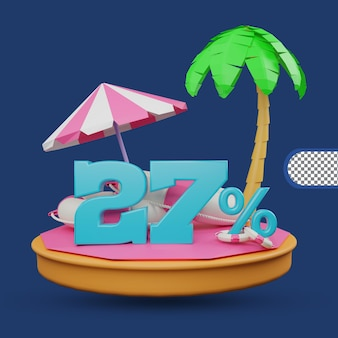 Saldi estivi 27 percento di sconto offerta 3d rendering
