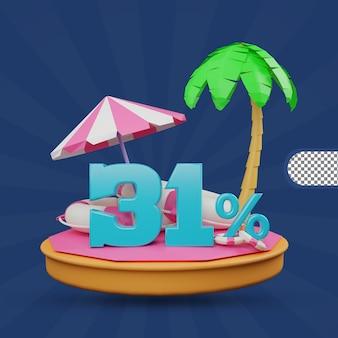Saldi estivi 31 percento di sconto offerta 3d rendering