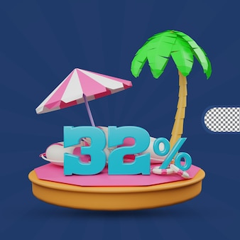 Saldi estivi 32% di sconto offerta 3d rendering