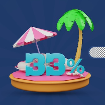 Saldi estivi 33 percento di sconto offerta 3d rendering