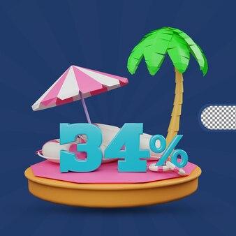 Saldi estivi 34% di sconto offerta 3d rendering