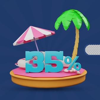 Saldi estivi 35 percento di sconto offerta 3d rendering