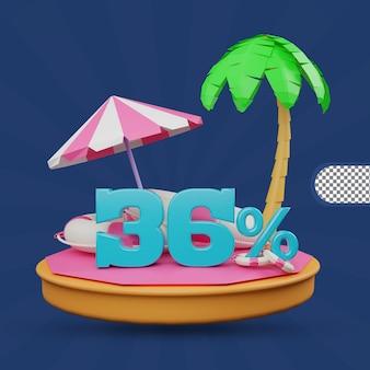 Saldi estivi 36 percento di sconto offerta 3d rendering