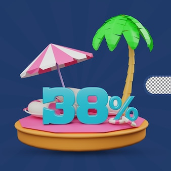 Saldi estivi 38 percento di sconto offerta 3d rendering