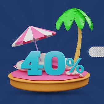 Saldi estivi 40% di sconto offerta 3d rendering