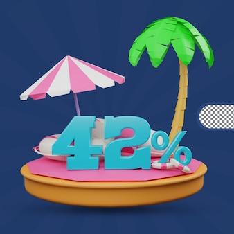 Saldi estivi 42 percento di sconto offerta 3d rendering