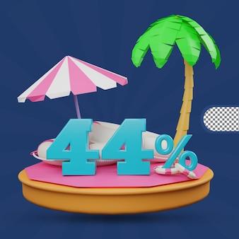 Saldi estivi 44% di sconto offerta 3d rendering