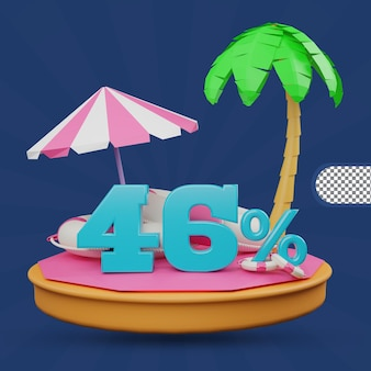 Saldi estivi 46 percento di sconto offerta 3d rendering