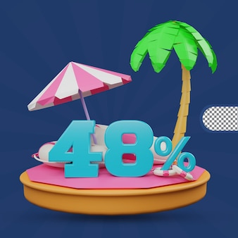 Saldi estivi 48 percento di sconto offerta 3d rendering
