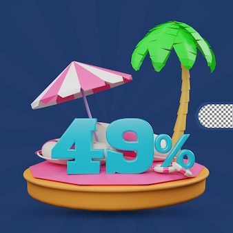 Saldi estivi 49% di sconto offerta 3d rendering