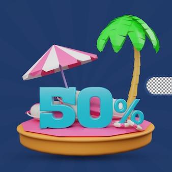 Saldi estivi 50% di sconto offerta 3d rendering