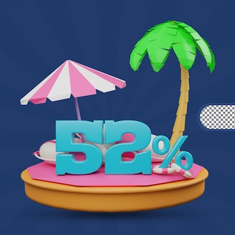 Saldi estivi 52 percento di sconto offerta 3d rendering