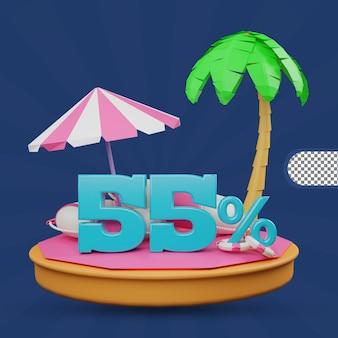 Saldi estivi 55 percento di sconto offerta 3d rendering