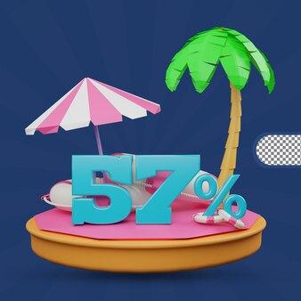 Saldi estivi 57 percento di sconto offerta 3d rendering