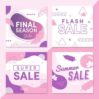 Set di pacchetti in vendita estivi social media post modello