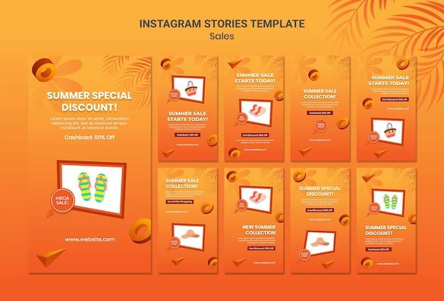 Modello di storie di instagram di vendita estiva