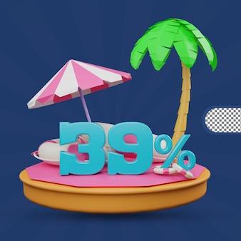 Saldi estivi 39 percento di sconto offerta 3d rendering
