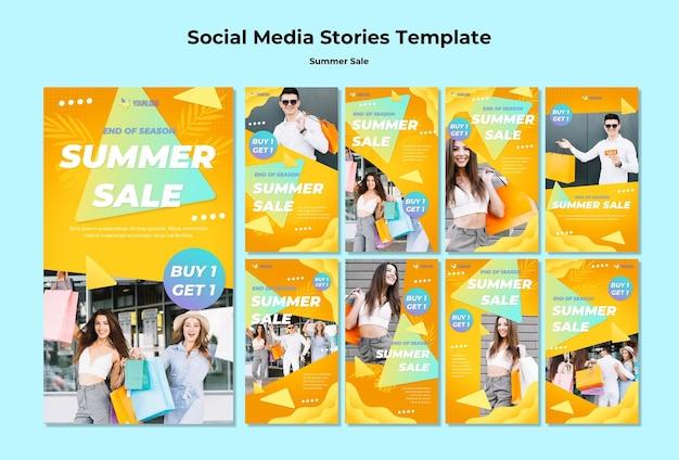 Storie di social media di saldi estivi
