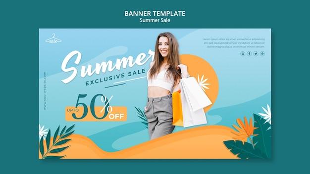 Modello di banner per i saldi estivi