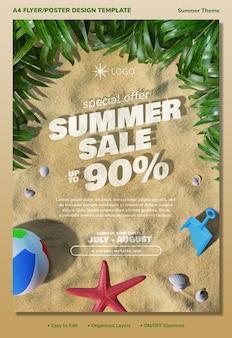 Concetto di modello di progettazione di stampa di volantino di promozione di vendita speciale estiva con elementi 3d da spiaggia