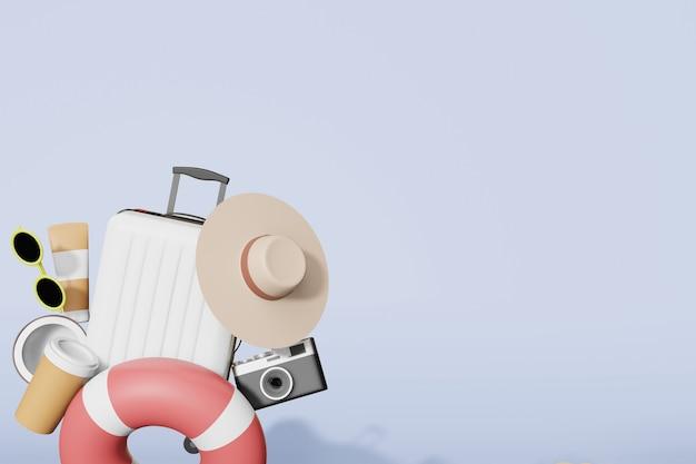 Mockup di roba estiva nel rendering 3d illustrazione