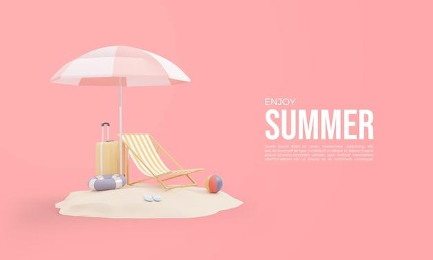 Rendering 3d dell'ora legale con bagagli e ombrellone sulla sabbia