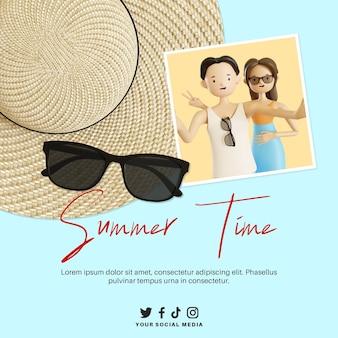 Banner dell'ora legale con coppia di personaggi selfie 3d su cappello di paglia e occhiali