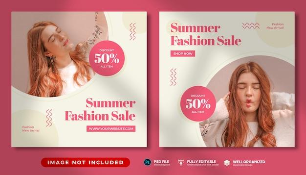 Post instagram promozionale di moda donna estate