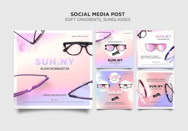 Modello di modello di post sui social media per negozio di occhiali da sole