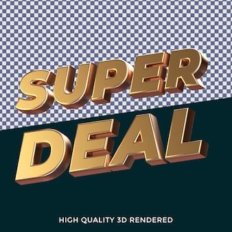 Super deal 3d ha reso lo stile di testo isolato con una trama metallica dorata realistica