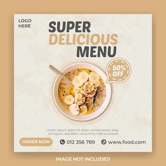 Modello di banner social media cibo super delizioso
