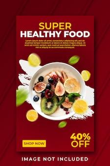 Modello di banner di cibo super sano