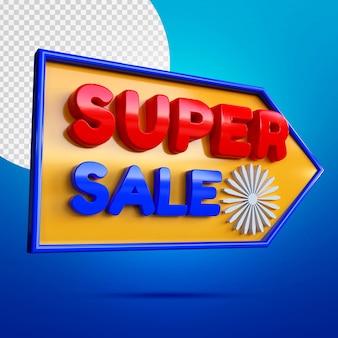 Mockup di banner 3d di vendita eccellente isolato sull'azzurro