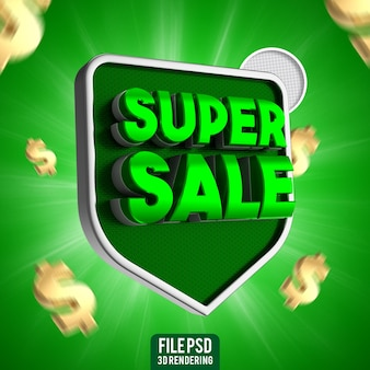 Super vendita 3d rendering banner