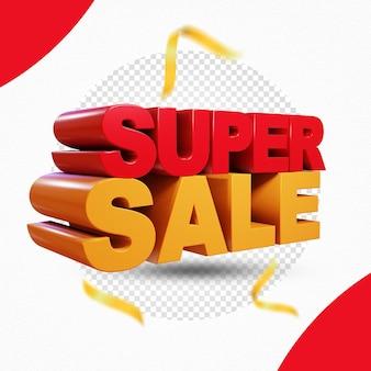 Super vendita 3d rendering design isolato