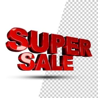 Super vendita 3d rendering di stile di testo isolato