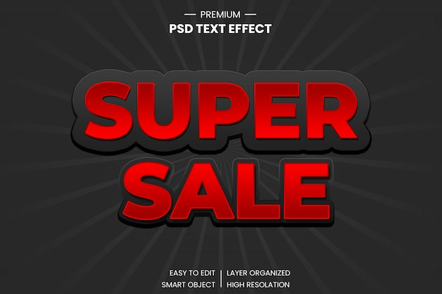 Super vendita effetto testo in stile 3d