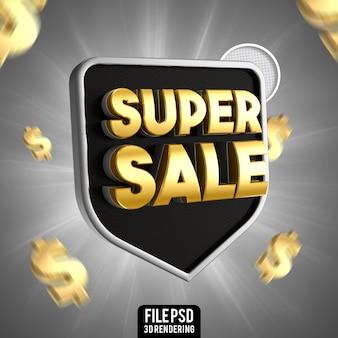 Super vendita nero con rendering 3d oro