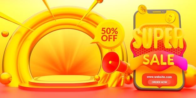 Modello di promozione banner sconto super vendita
