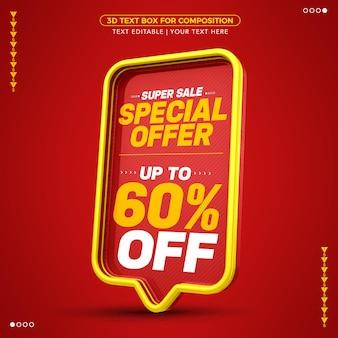 Offerta speciale super saldi casella di testo 3d rossa con uno sconto fino al 60%