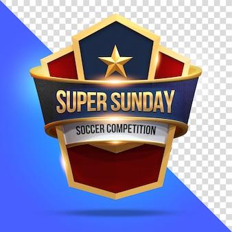 Super sunday mockup con scudo rendering 3d isolato