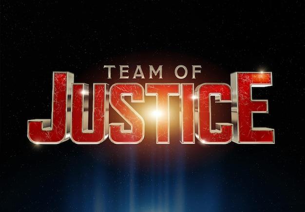 Effetto di testo del titolo del film di supereroi