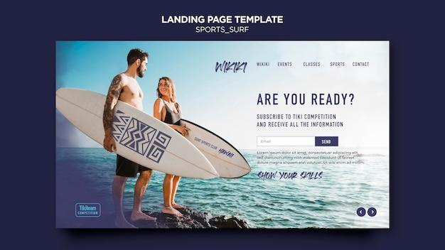 Modello di pagina di destinazione delle lezioni di surf