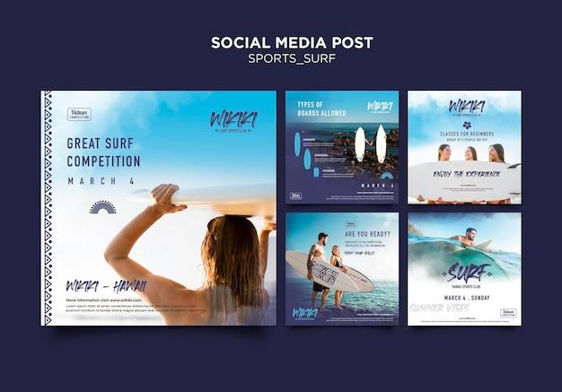 Modello di post sui social media delle lezioni di surf