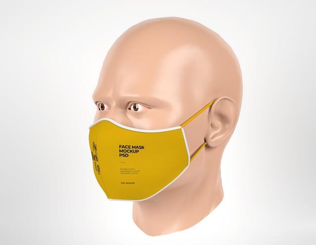 Maschera chirurgica mockup con manichino uomo vista a sinistra