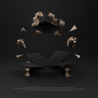 Offerta a sorpresa confezione regalo giveaway display promozionale 3d realistico per podio