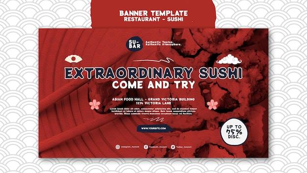 Modello banner orizzontale sushi