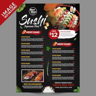 Menu di poster di cibo giapponese sushi
