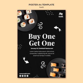 Modello di poster di sushi con foto
