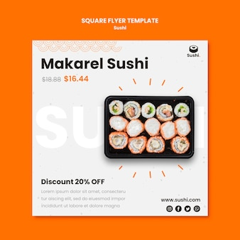 Volantino quadrato del ristorante di sushi